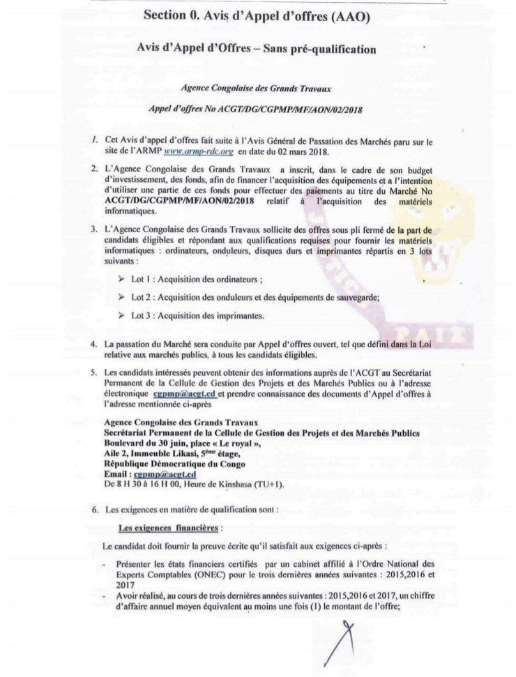 RDC : l'Agence congolaise des grands travaux lance un nouvel Avis d'appel d'offres 2