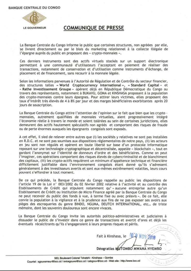 RDC: la Banque centrale dénonce la collecte de l'épargne contre des crypto-monnaies 2