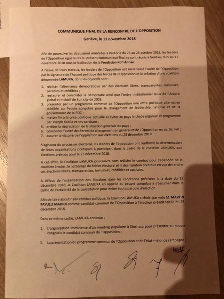 RDC : présidentielle 2018, Fayulu désigné candidat commun de la Coalition LAMUKA ! 2