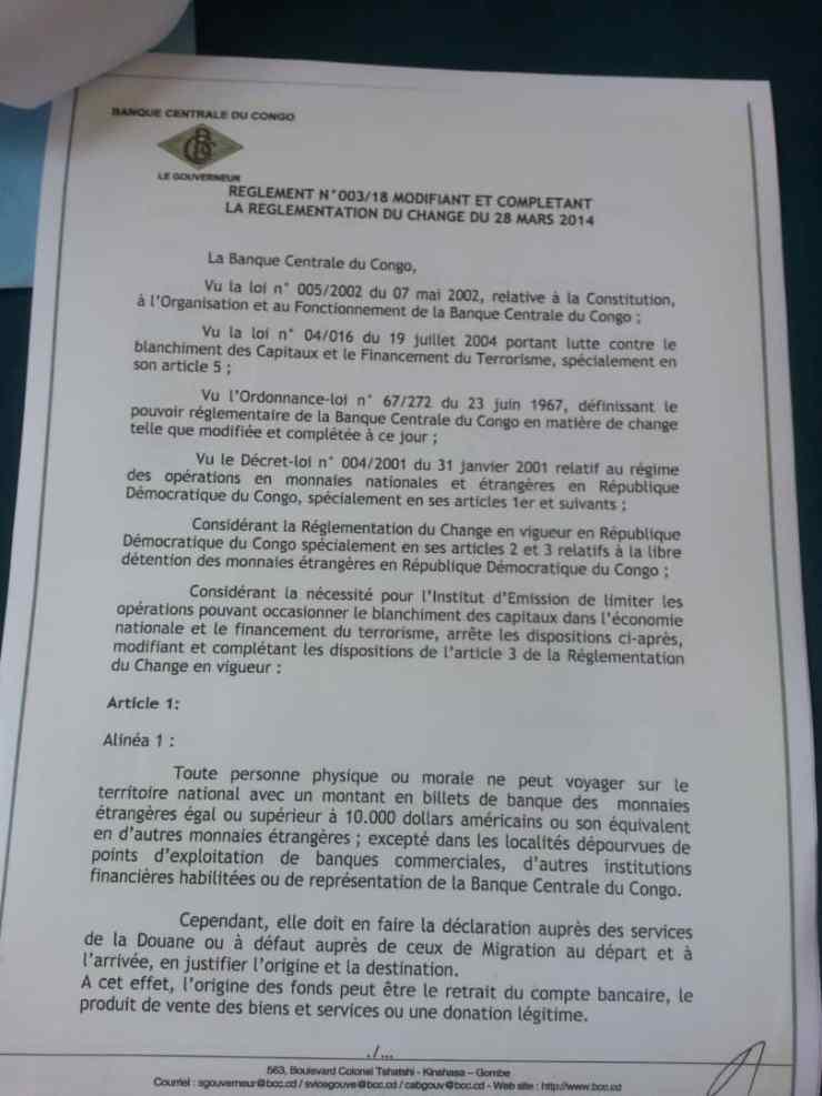 RDC: la BCC réglemente tout voyage avec des billets de banque d'une valeur de 10000 USD ou plus 2