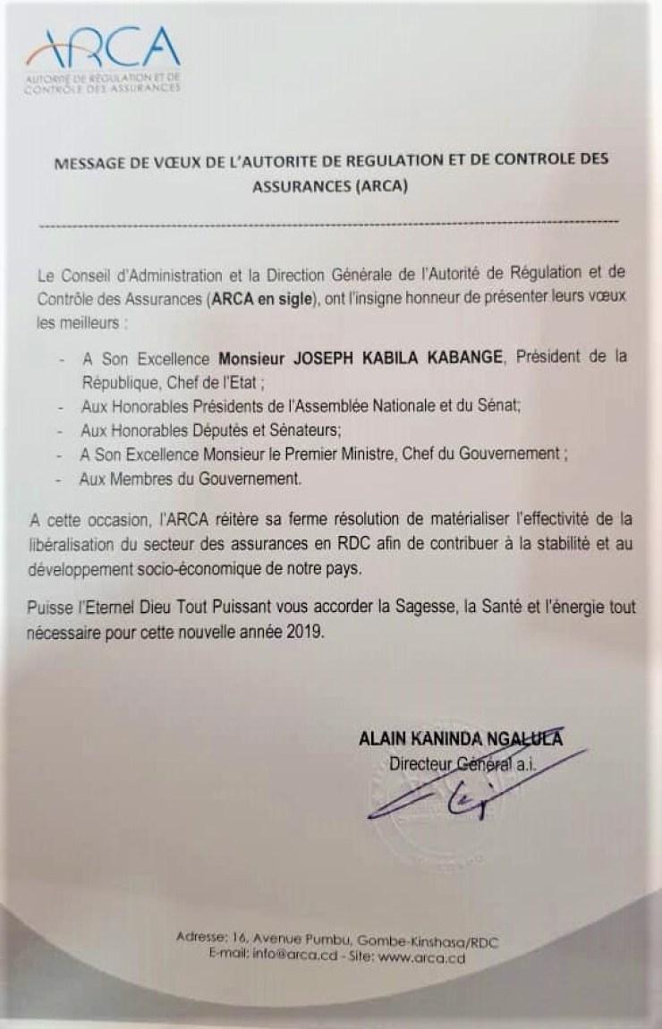 RDC : ARCA présente ses vœux pour la nouvelle année 2019 2