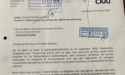 RDC : ACAJ dénonce les détournements des primes dans les ministères ! 29