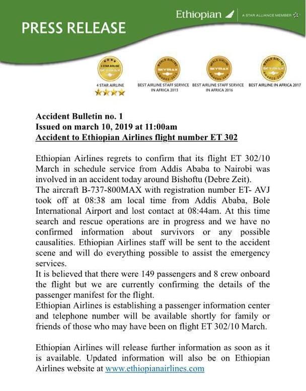 Éthiopie : un avion d'Ethiopian Airlines s'écrase avec 157 personnes à bord 2