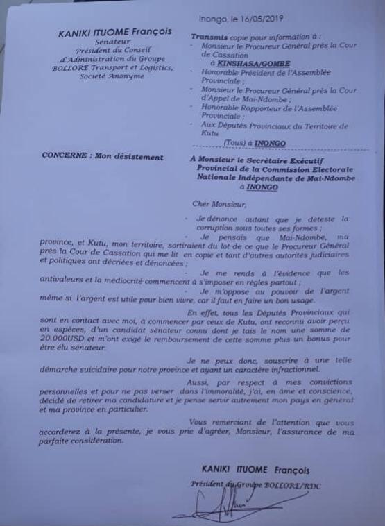 RDC : François Kaniki dénonce un candidat-sénateur «corrupteur» à Mai-Ndombe ! 2