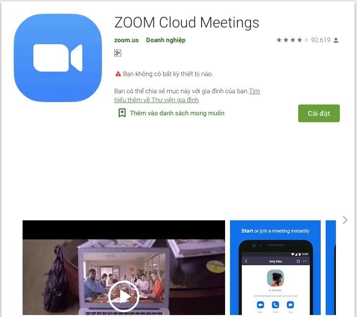 Cách tải zoom meeting của Google Play