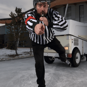 Jerry Aulenbach Beards on Ice with zamboni at the Meadows Edmonton