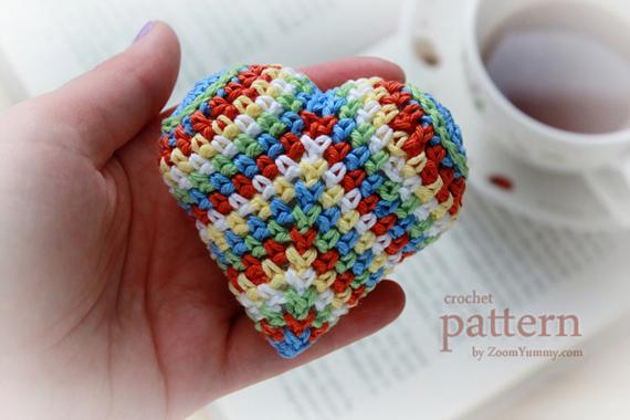 Happy Colorful Crochet Heart