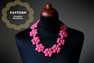 crochet flower necklace pattern, pdf pattern, pdf, tutorial, pictures, step by step, images