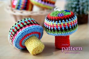 crochet mushroom ornaments pattern