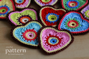 colorful crochet heart ornaments pattern