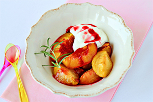 roasted summer fruit recipe with step by step pictures, how to make roasted summer fruit, images, pictures, ingredients, recipe, roasted fruit with cream
