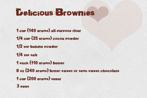 delicious brownies recipe with step by step pictures, ingredients