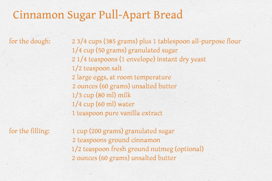 cinnamon sugar pull apart bread recipe with step by step instructions, ingredients