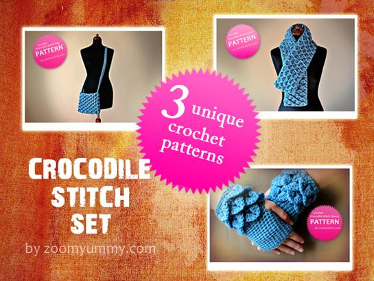 crochet crocodile stitch bag scarf fingerless gloves pdf patters by zoomyummy.com