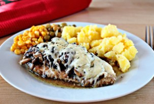 mushroom and cheese chicken recipe with step by step pictures, how to make mushroom and cheese chicken, ingredients, pictures, images