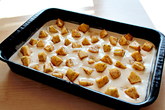 Caramel apple cheesecake cookie bars recipe with step by step picturess. Spoon the apple chunks evenly over the cream cheese mixture.