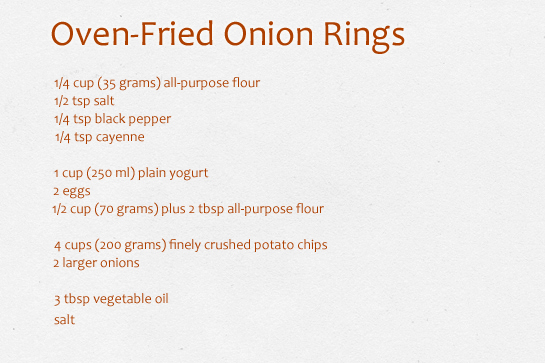 oven-fried onion rings with potato chips coating, recipe with step by step pictures, ingredients
