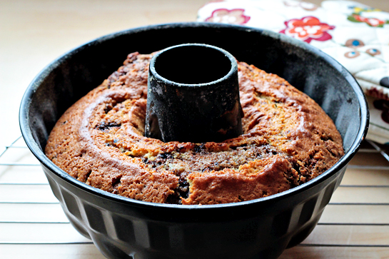 Marbled coffee bundt cake recipe. Bake for 35-40 minutes, or until a cake tester (or wooden skewer) inserted in the middle of the cake comes out clean.  Cool on a rack for 30 minutes.