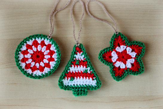 crochet Christmas ornaments star tree circle patter pdf tutorial