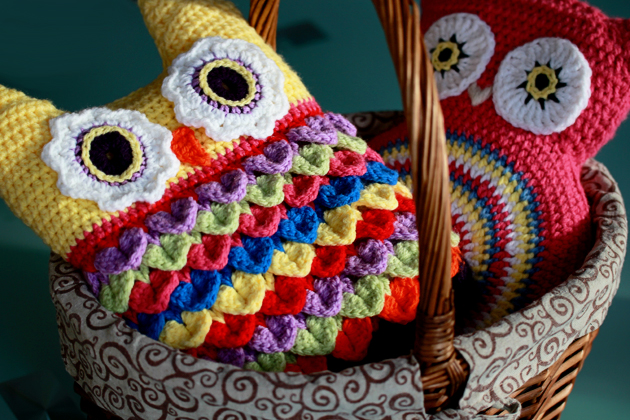 colorful crochet owl cushion