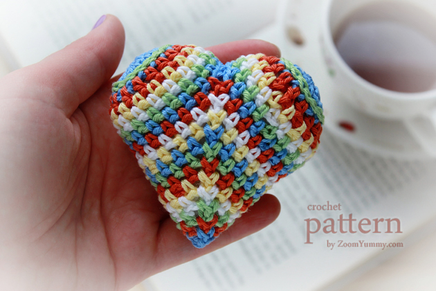 happy colorful crochet heart pattern