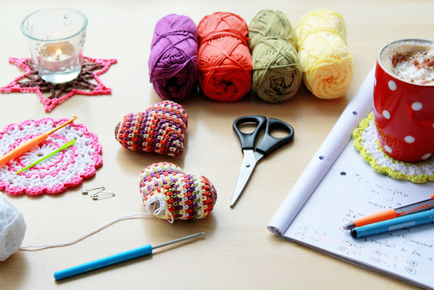 happy colorful crochet heart patter in progress