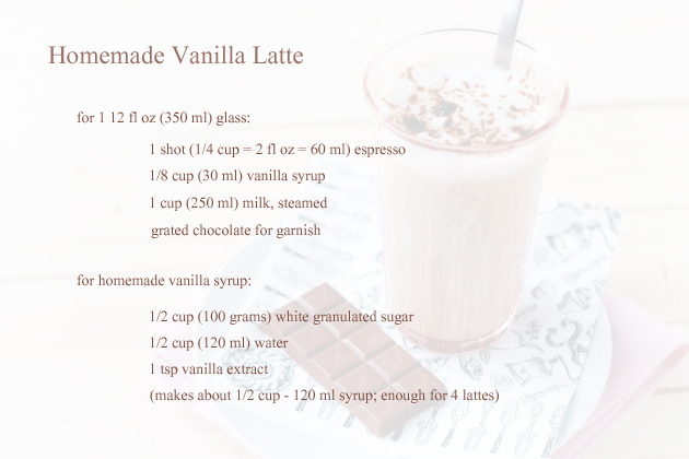 homemade vanilla latte ingredients