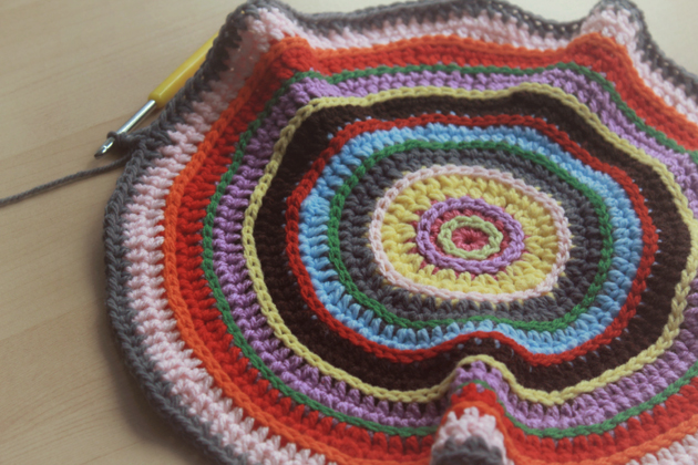 colorful crocheted floor cushion