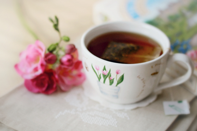 freesia and a cup of tea