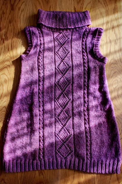 purple long knitted vest