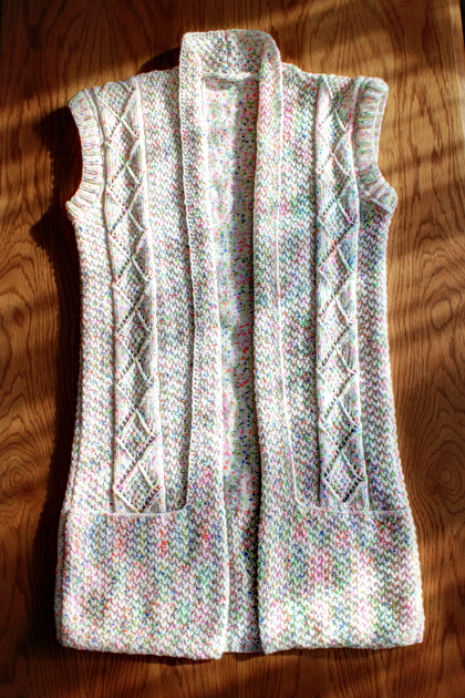 white long knitted vest with pockets