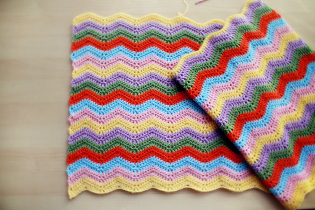 chevron blanket - process