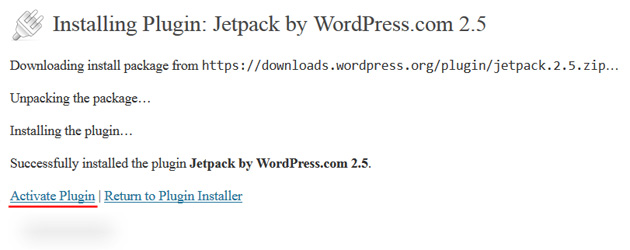 wordpress dashboard activate plugin jetpack