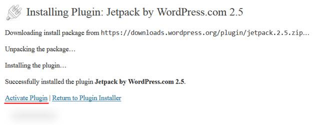 wordpress dashboard activate plugin jetpack