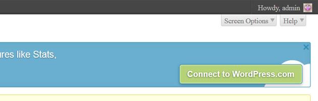 wordpress dashboard jetpack connect to wordpress.com