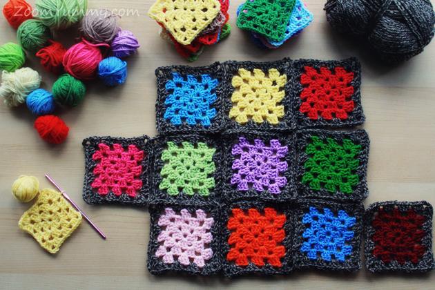 colorful granny squares with dark border