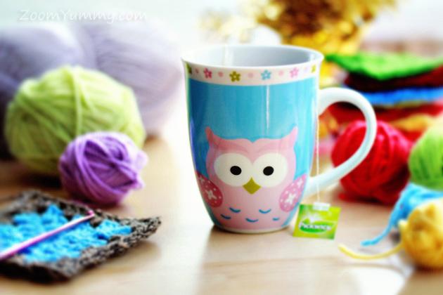 crochet and colorful owl mug