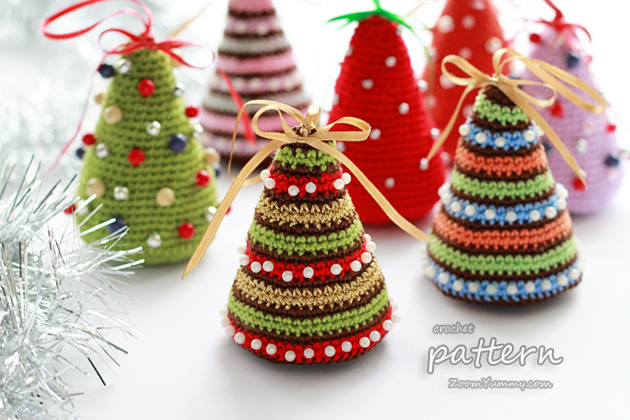 New Crochet Pattern Little Colorful Christmas Trees