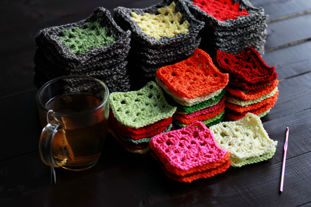 colorful crochet granny squares