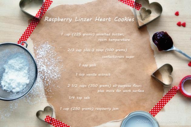 raspberry Linzer heart shaped cookies recipe ingredients