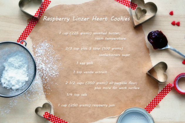 raspberry Linzer heart shaped cookies recipe ingredients
