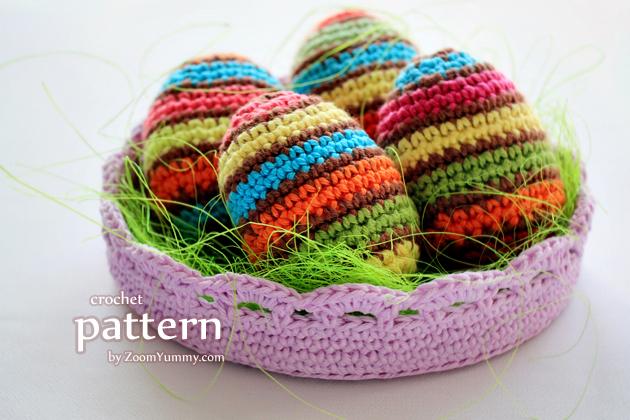 New Crochet Pattern Striped Easter Eggs In A Bowl Crochet Zoom