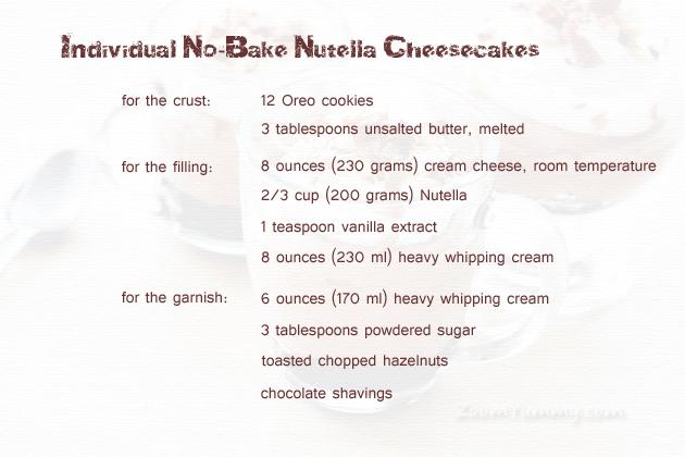 no-bake nutella cheesecake recipe ingredients