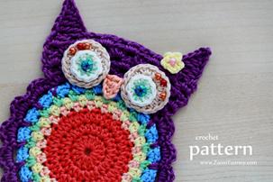 Crochet Owl Coasters/Appliques Pattern