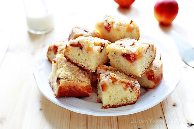 super quick peach squares recipe