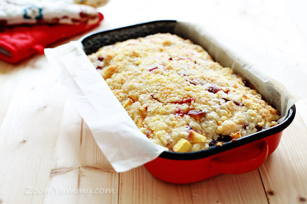 super quick peach squares recipe