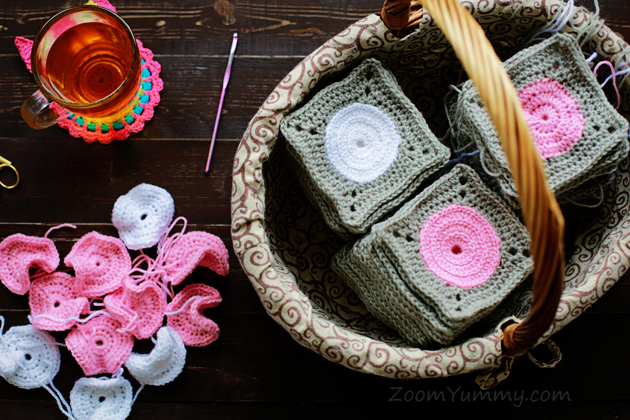 crochet polka dot squares