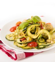 Chicken & Pesto Zucchini Fettuccine With Tomatoes