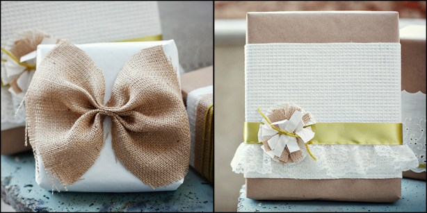 Cute Gift Wrap Packaging Burlap Bow & Linen Lace