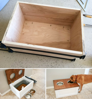 DIY Dog Food Station with Storage